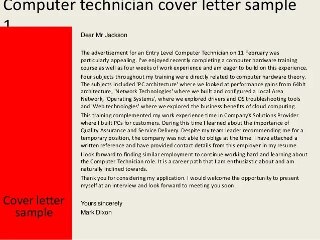 cover letter computer technician no experience - Yatay ...