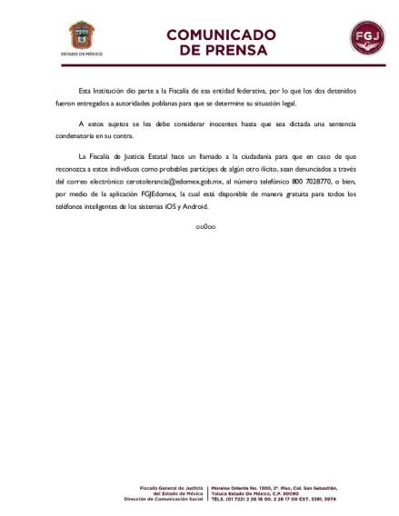 Esta Institución dio parte a la Fiscalía de esa entidad federativa, por lo que los dos detenidos fueron entregados a autor...