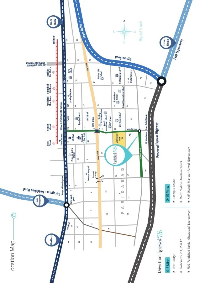 Gurugram-FaridabadRoad Mapnottoscale ProposedExpressHighway TheModern School DPS School Escorts FortisHospital Proposed 5S...