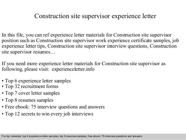 Construction Site Supervisor Resume Format. site supervisor ...