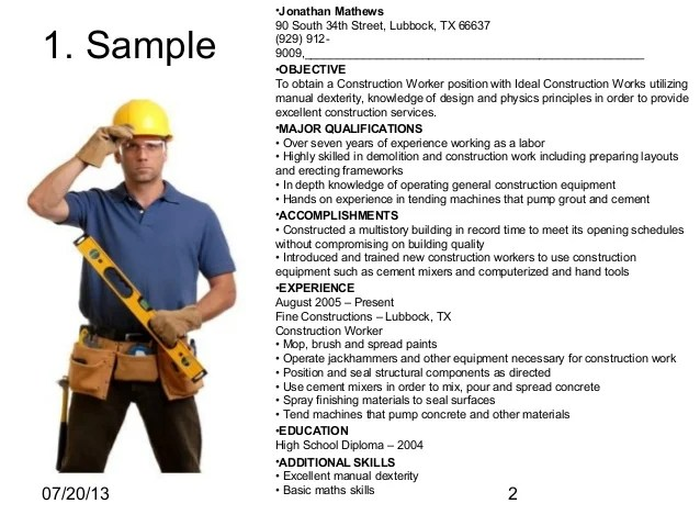 resume construction sample resume part construction worker resume