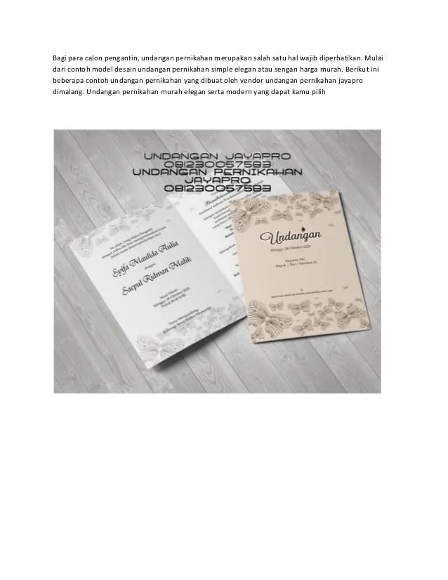 Contoh Desain Undangan Pernikahan Simpel Elegan Terbaru Murah Versi 1