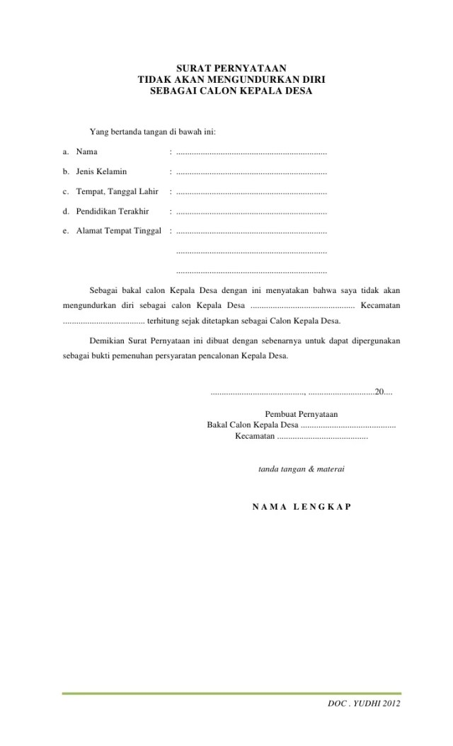 Contoh Surat Pernyataan Lamaran Cpns Resmi Terbaru Lalod