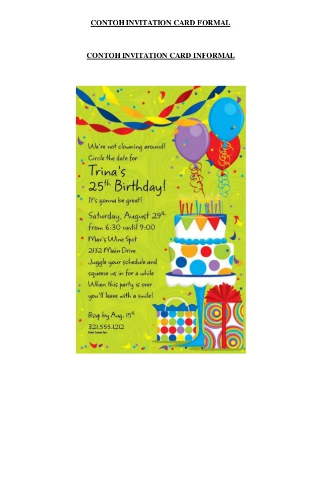 Contoh invitation letter about birthday party cogimbo original contoh invitation card birthday party given inexpensive stopboris Choice Image