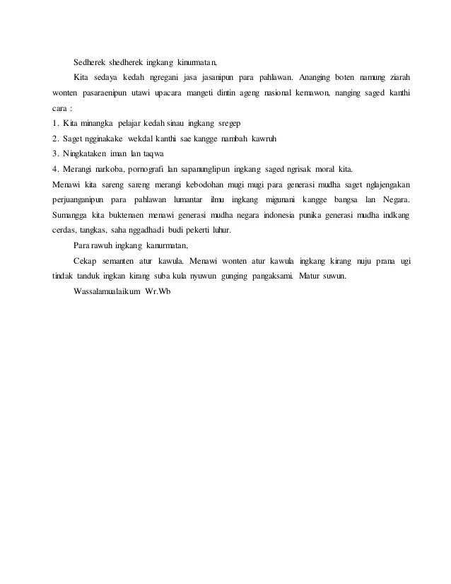 Pidato Bahasa Jawa Singkat Padat : pidato, bahasa, singkat, padat, Contoh, Pidato, Singkat, Materi, Pelajaran