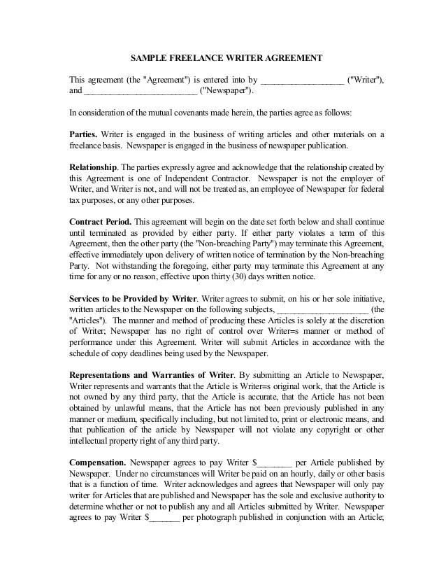 Contract Writer Resume