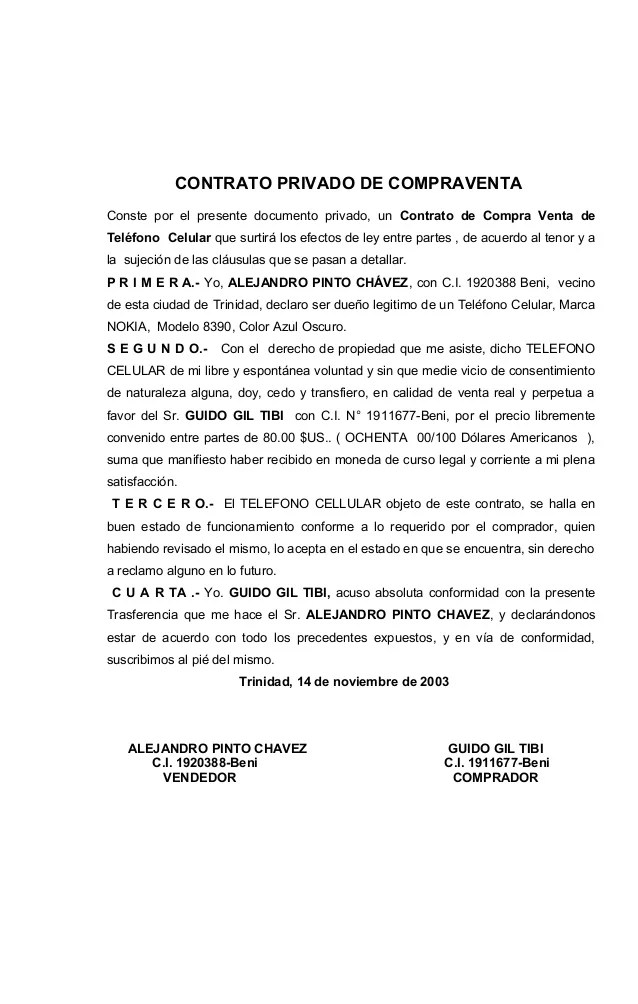 ACTO DE VENTA DE VEHICULO DE MOTOR BAJO FIRMA PRIVADA