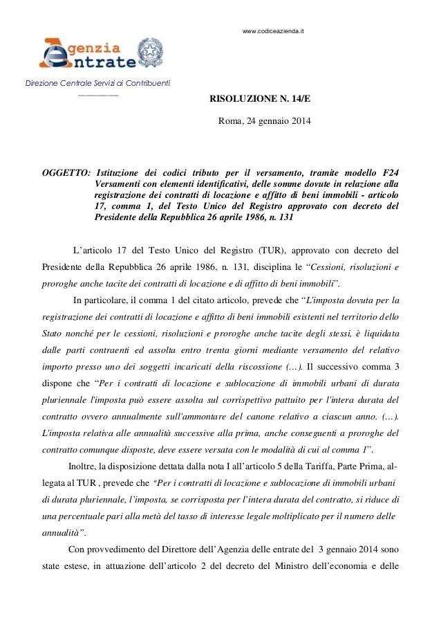 F24 Elide E Contratti Di Locazione