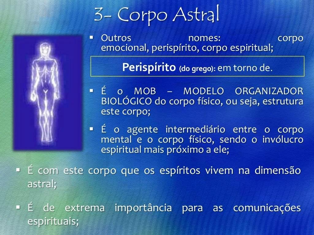  O corpo astral não possui a mesma densidade em todas as criaturas humanas.;  É também conhecido como corpo emocional, o...