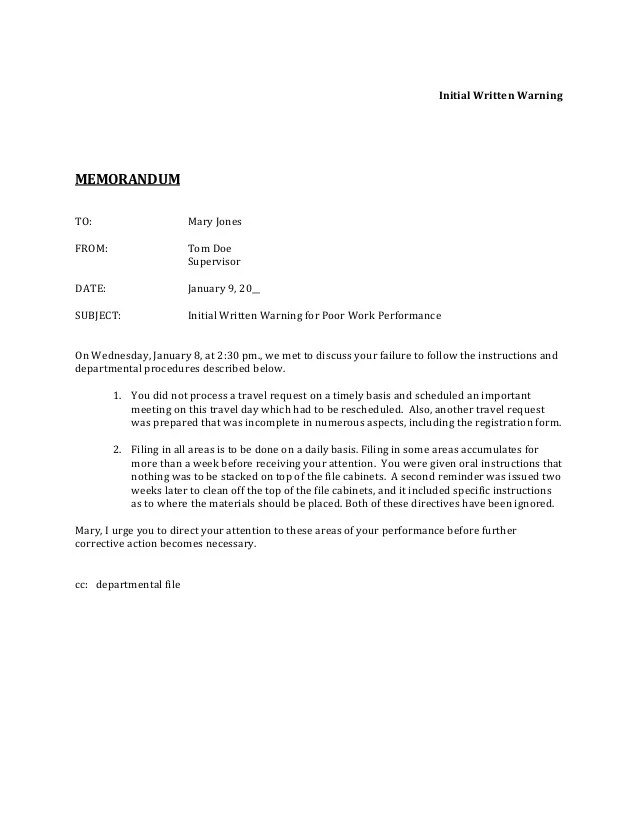 Sample Memo For Habitual Absences 6 Casual Letters