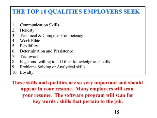 good work skills for resumes