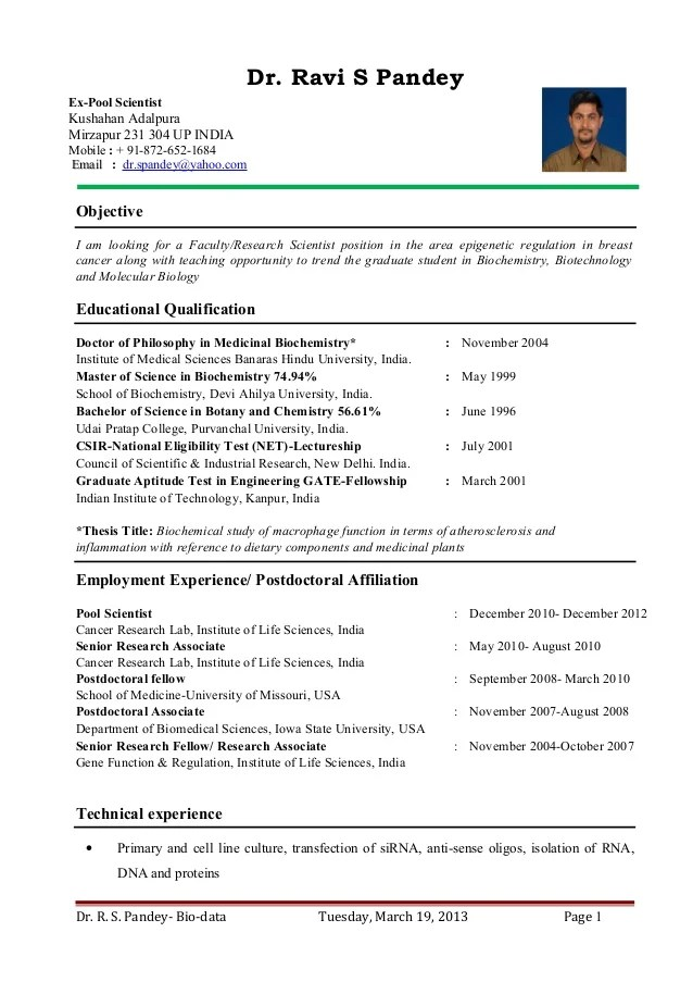 Postdoctoral Application Cv Sample  packages latex template