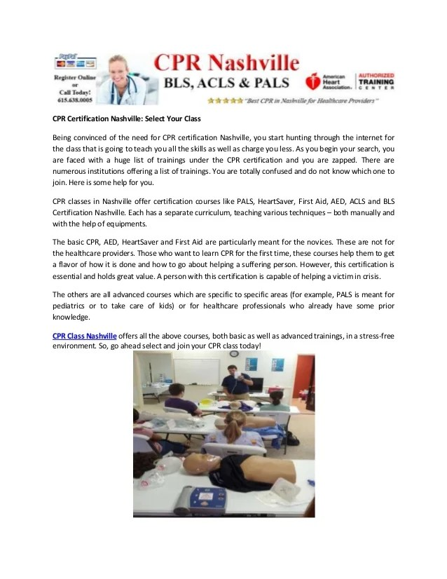 Cpr Certification Nashville Select Your Class