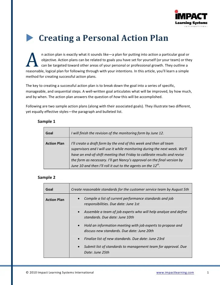 Creating A Personal Action Plan