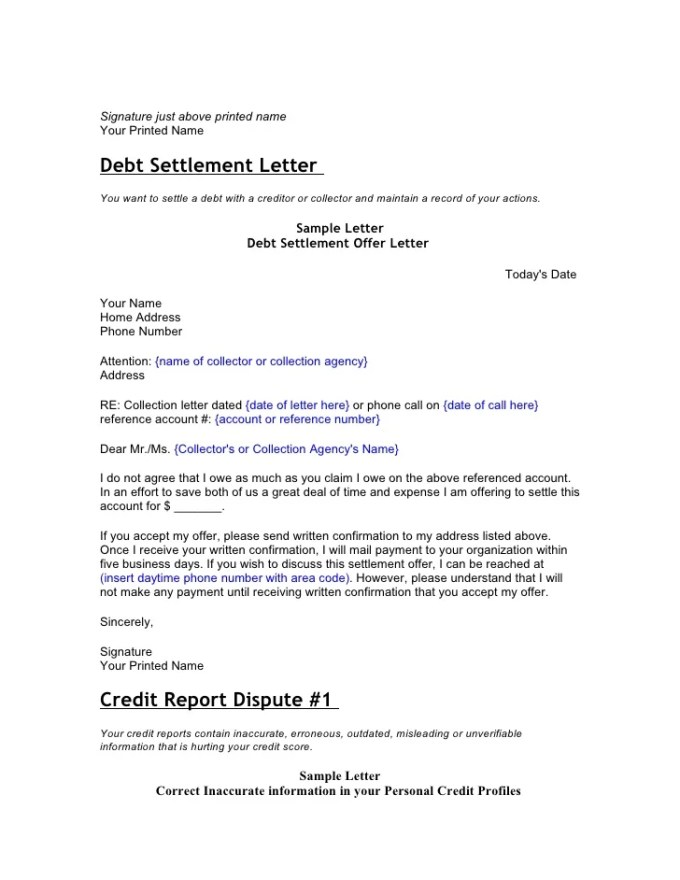 Sample letter to collection agency to settle debt textpoems credit and debt dispute letters a debt settlement letter spiritdancerdesigns Gallery
