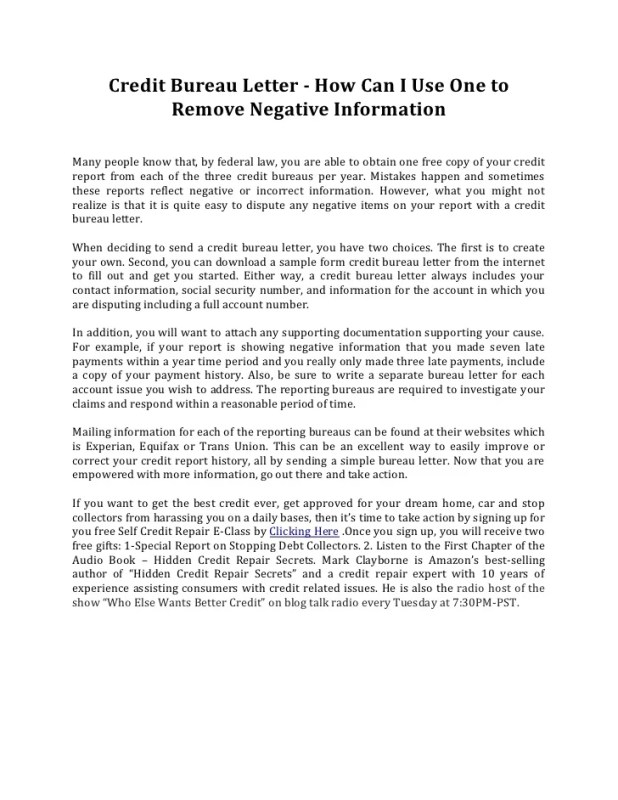 sample letter to remove negative items from credit report ...