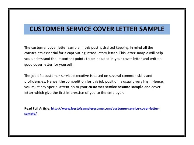 cover letter for a customer service role