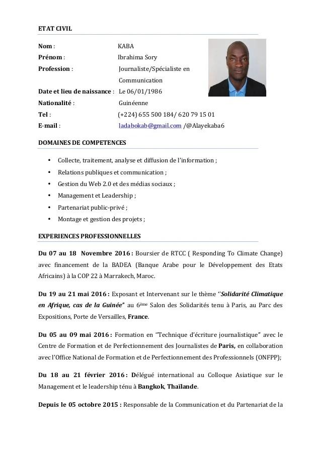 Cv Kaba Ibrahima Sory
