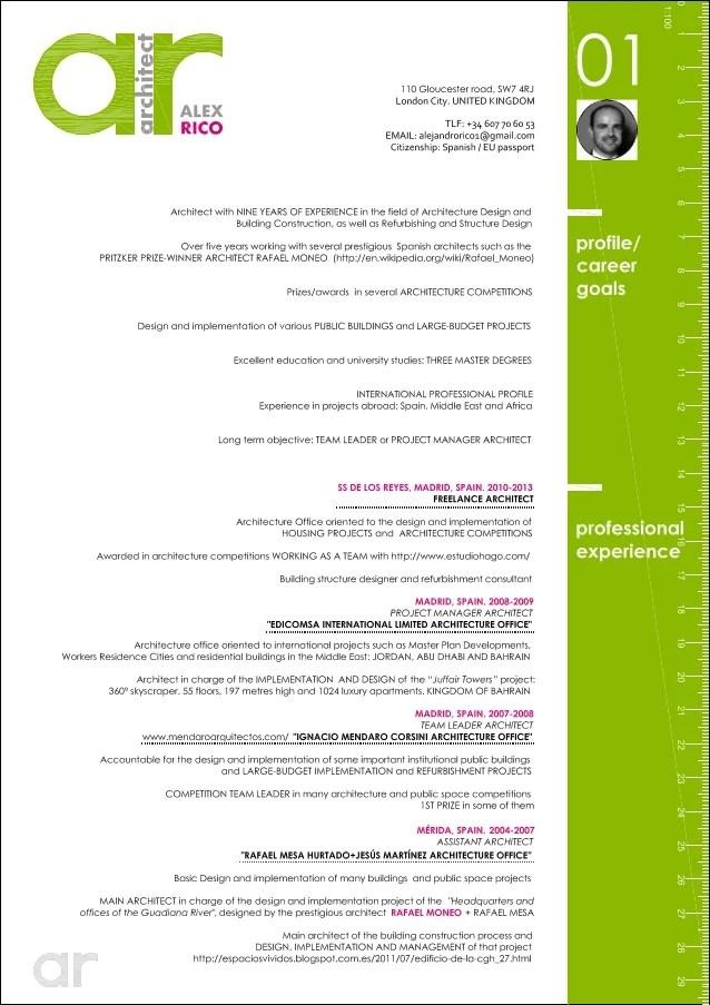 Architect Resume intern architect resume samples Cv Alex Rico English