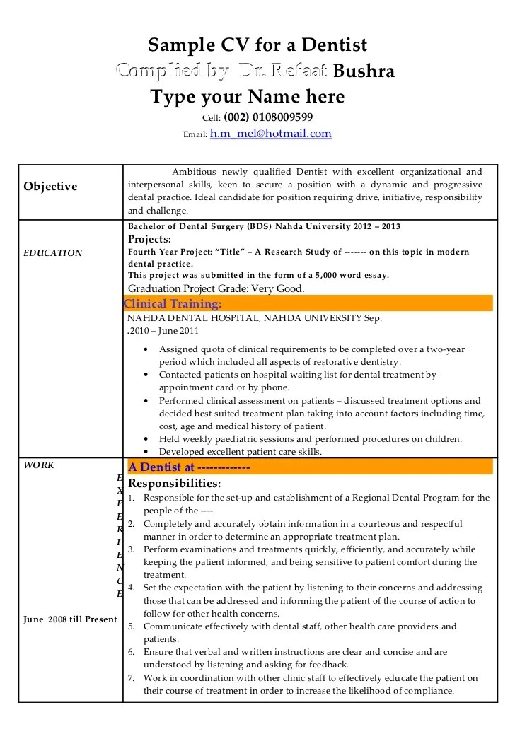 resume format for bds doctor abij