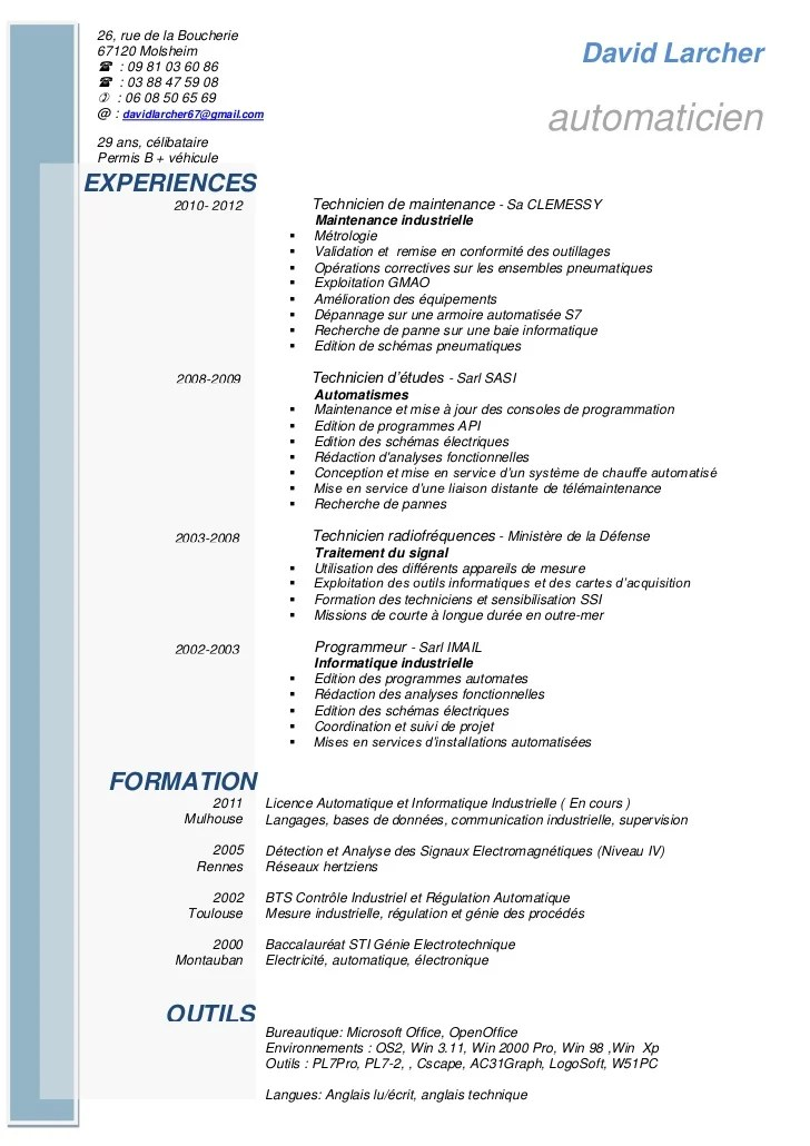 Modele Cv Technicien De Maintenance Industrielle Contrat
