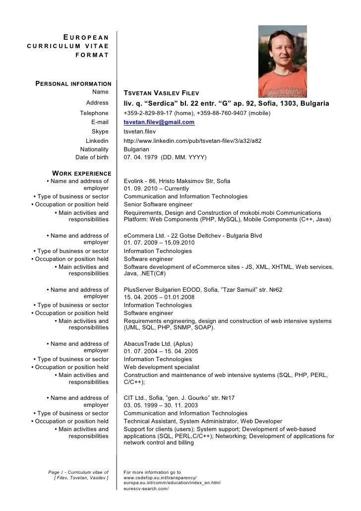 european curriculum vitae format english download