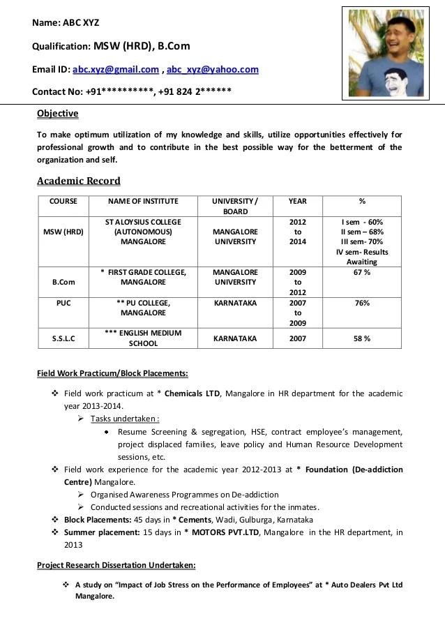 Sample Resume Format For Fresh Graduates One Page Format Sample Resume For  Freshers Bcom Graduate Pdf