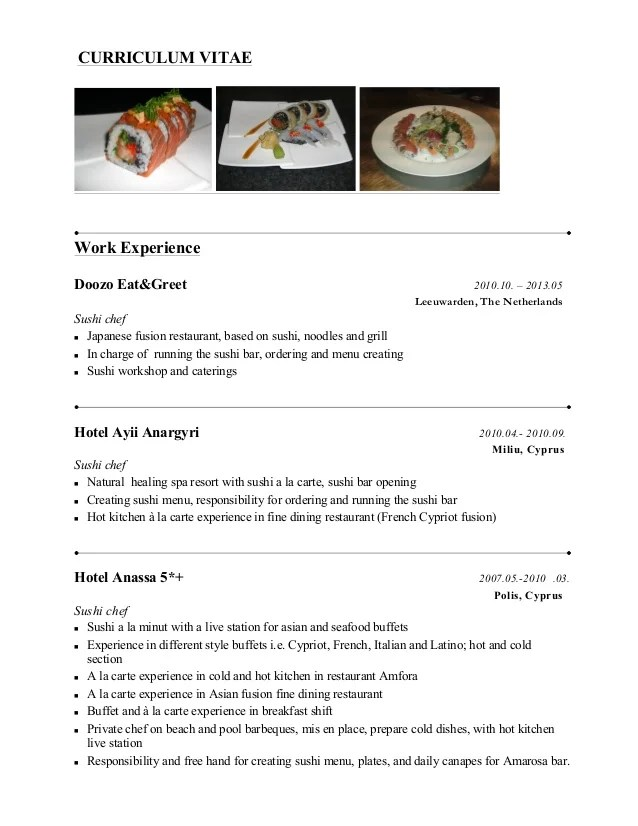 Sushi Chef Resume Example Resume Ixiplay Free Resume Samples