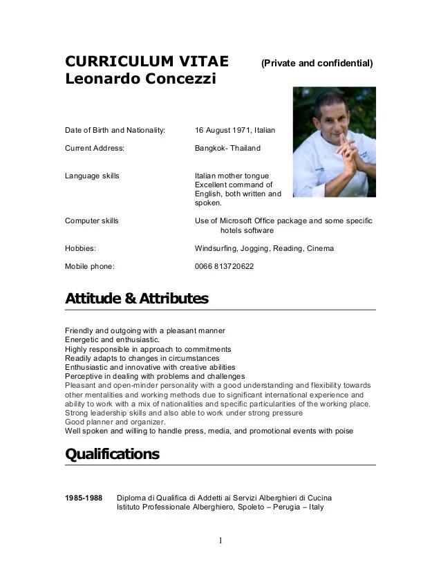 curriculum vitae private and confidential leonardo concezzidate of