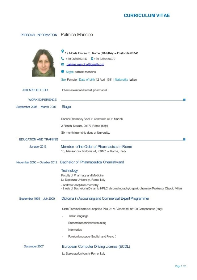 curriculum vitae personal information palmina mancino 19 monte circeo