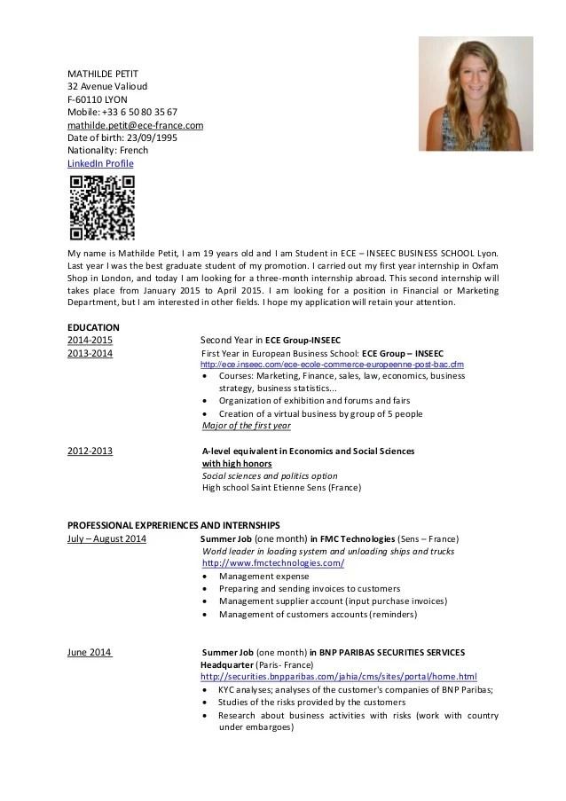 Cv Mathilde Petit Resume