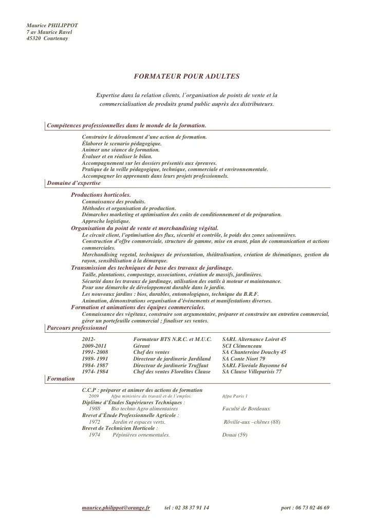 Cv N8 Formateur