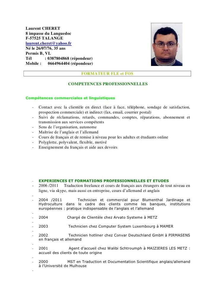 Cv Professeur Fle Fos