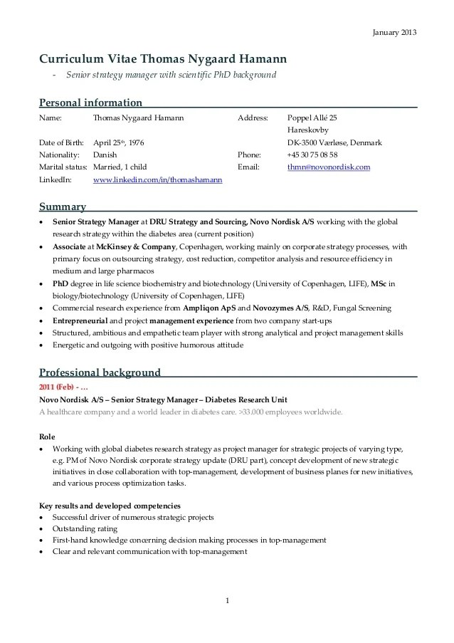 Mckinsey Resume Format For Consulting