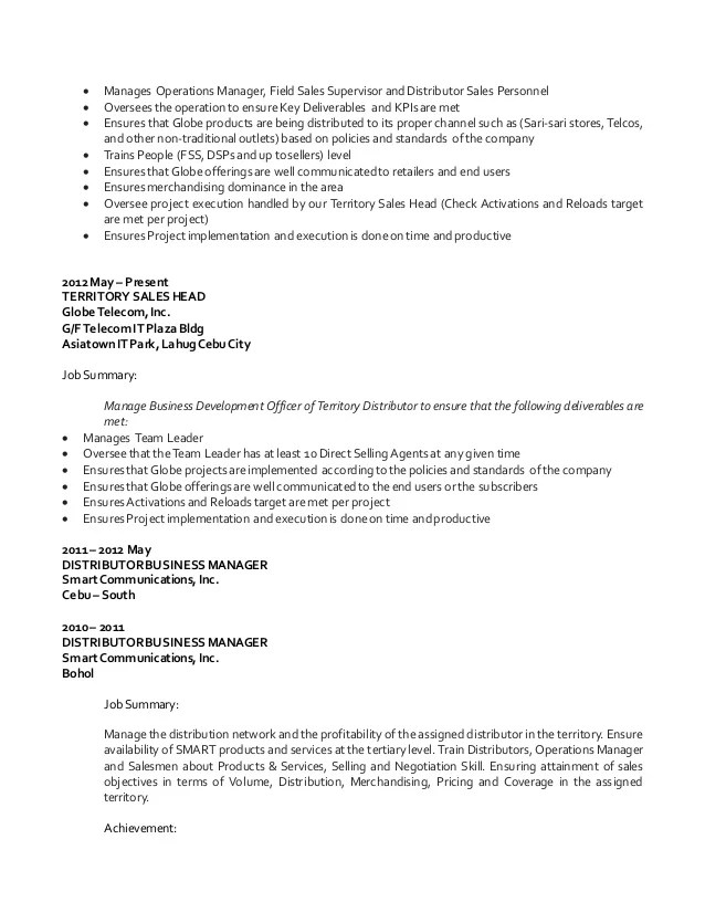 Telecom Channel Sales Manager Resume. Territory Sales Manager