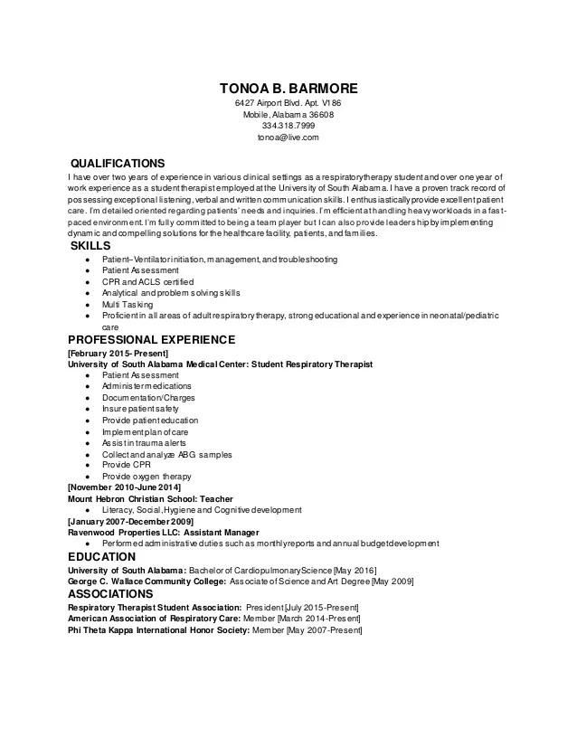 respiratory therapist resume templates student respiratory