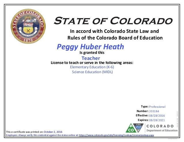 P Heath Co Teacher License