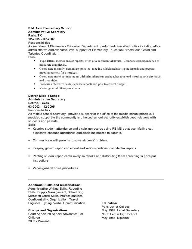 resume for school secretary resume sample administrative assistant