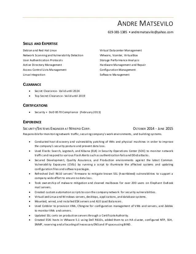 andre matsevilo information security resume