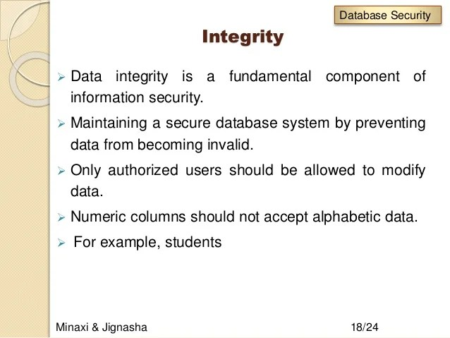 Database Security And Integrity