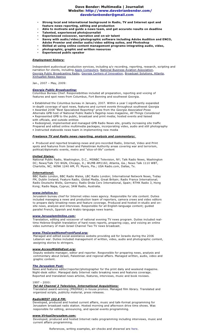 Journalist Resume Examples ] - media resume sample resume ...