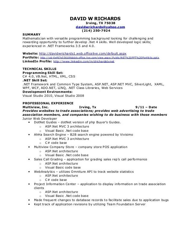 David W Richards Net Resume