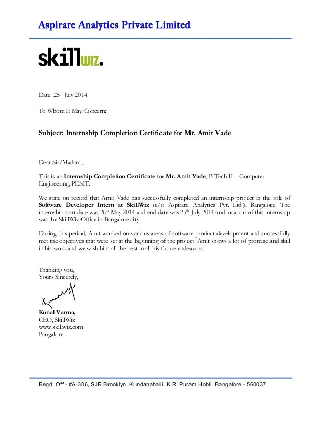 Certificate of completion letter sample yelopaper Choice Image
