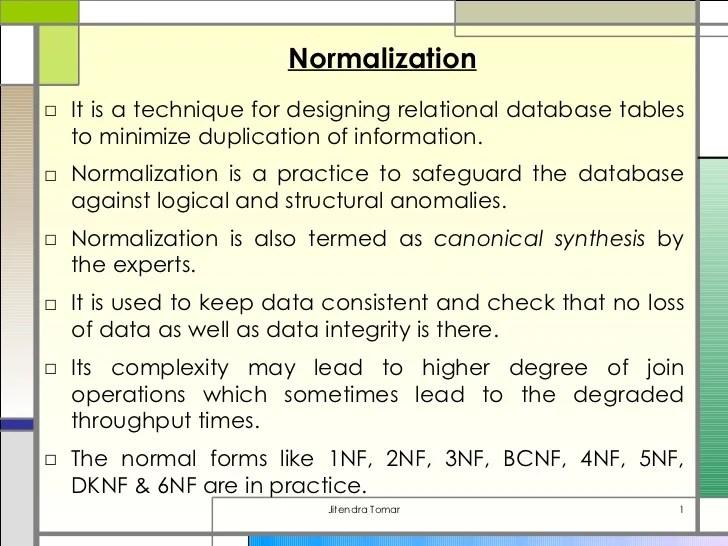 DBMS  Normalization