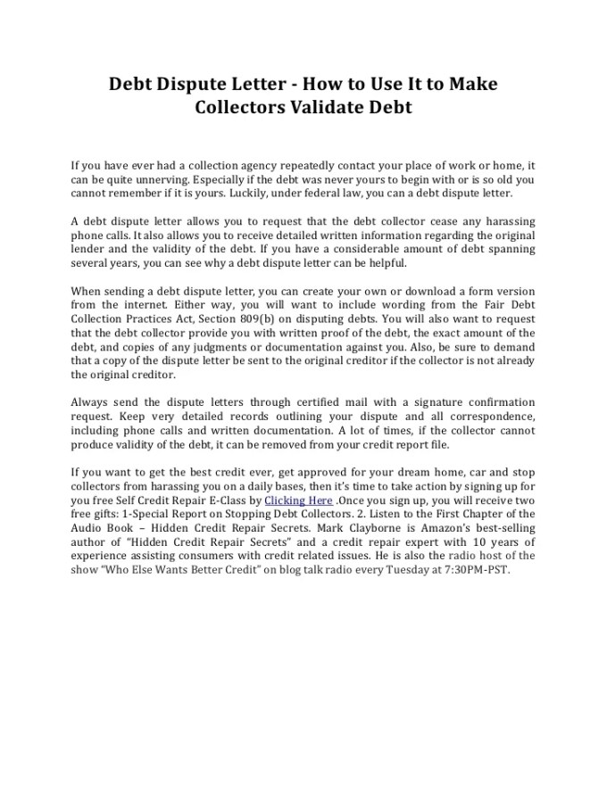 How to write a dispute letter debt collector textpoems debt dispute letter how to use it make collectors validate spiritdancerdesigns Choice Image