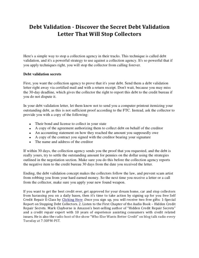 Debt Validation Letter Sample After 30 Days | Textpoems.org