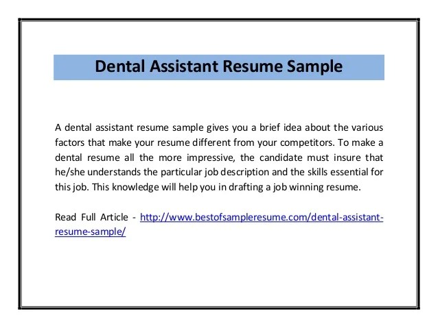 Dental Assistant Cv Samples. Download. Top 8 Dental Assistant