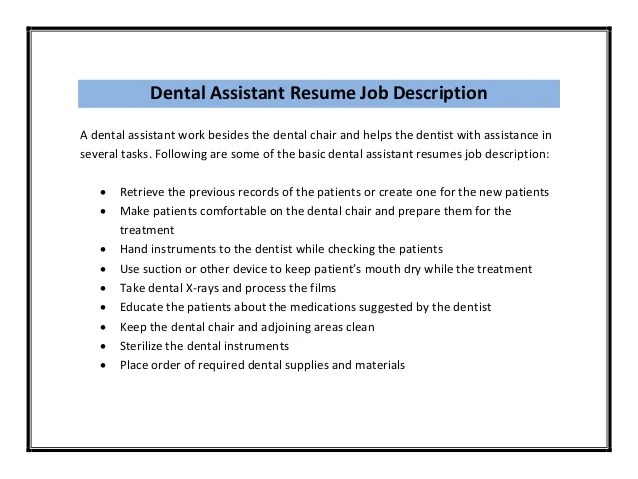 Hygienist Resume Description. dental hygienist resumes sample ...