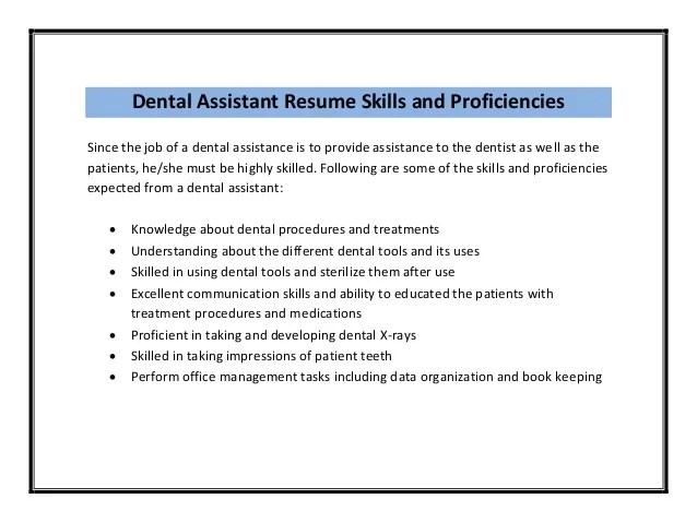 Dental Assistant Resumes Skills. Resume For Dental Assistant