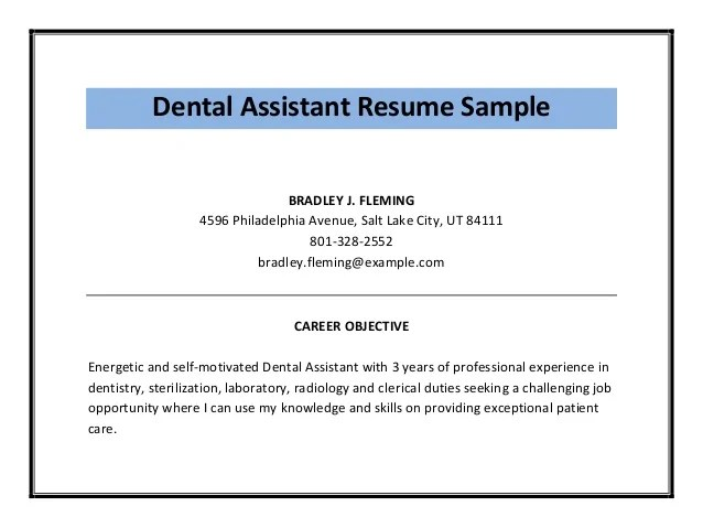 Dentist Assistant Resume Examples | Cipanewsletter